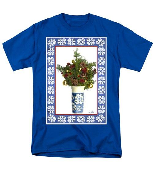 Men's T-Shirt  (Regular Fit) featuring the digital art Snowflake Vase With Christmas Regalia by Lise Winne