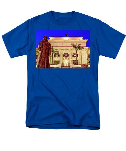 Statue Of Saint Junipero Serra In Front Of San Buenaventura City Hall Men's T-Shirt  (Regular Fit) by John A Rodriguez