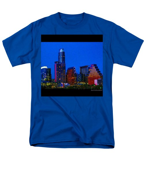 The #instaawesome #austin #skyline On A Men's T-Shirt  (Regular Fit) by Austin Tuxedo Cat