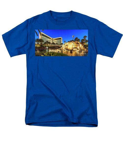 The Mirage Casino And Volcano At Dusk Men's T-Shirt  (Regular Fit) by Aloha Art
