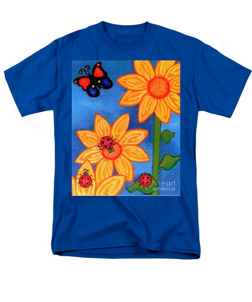 Three Ladybugs And Butterfly Men's T-Shirt  (Regular Fit) by Genevieve Esson