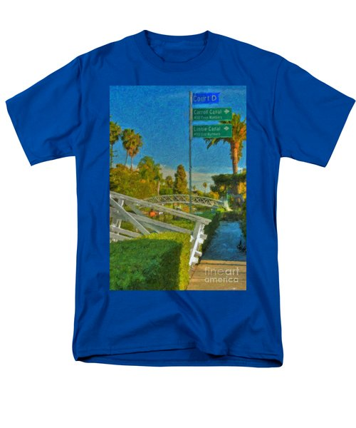 Men's T-Shirt  (Regular Fit) featuring the photograph Venice Canal Bridge Signs by David Zanzinger