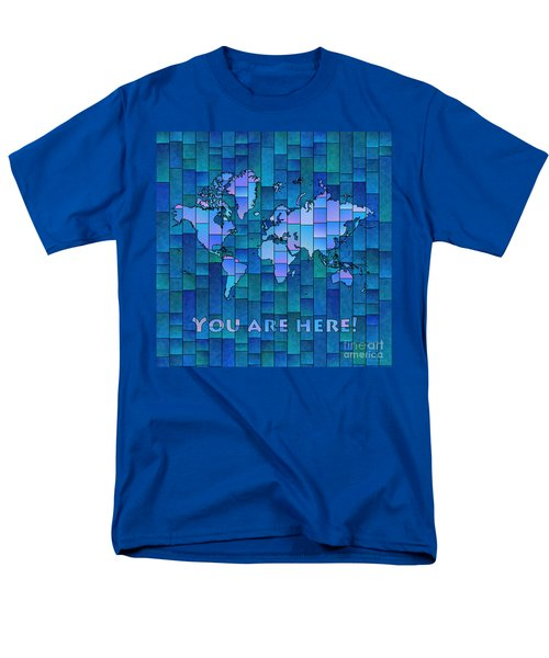 World Map Glasa You Are Here In Blue Men's T-Shirt  (Regular Fit) by Eleven Corners