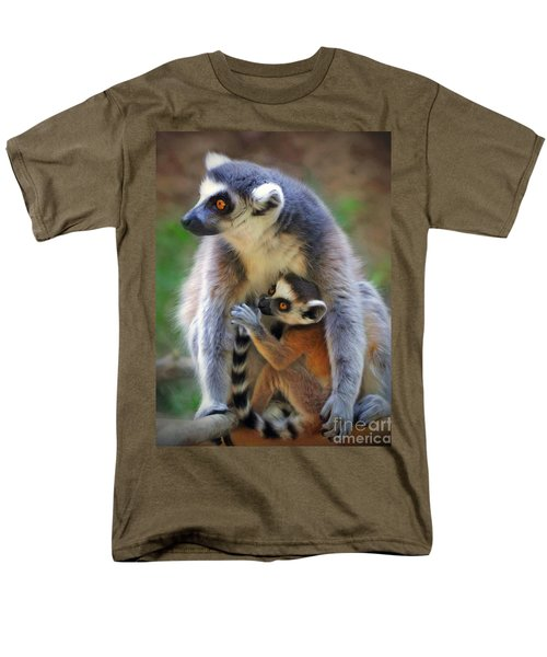 Men's T-Shirt  (Regular Fit) featuring the photograph    Mother And Baby Monkey by Savannah Gibbs