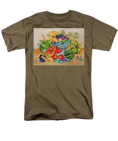 Red Apples And  Grapes Oil Painting Men's T-Shirt  (Regular Fit) by Johanna Bruwer