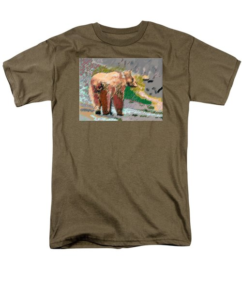 081914 Pastel Painting Grizzly Bear Men's T-Shirt  (Regular Fit) by Garland Oldham