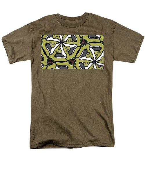 Men's T-Shirt  (Regular Fit) featuring the digital art Cat / Shoe / Rose by Elizabeth McTaggart