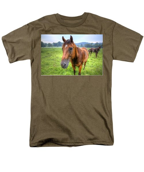 Men's T-Shirt  (Regular Fit) featuring the photograph Horses In A Field by Jonny D