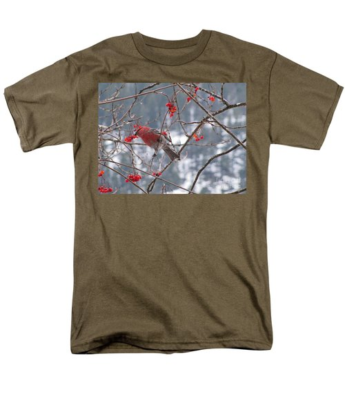 Pine Grosbeak And Mountain Ash Men's T-Shirt  (Regular Fit) by Leone Lund