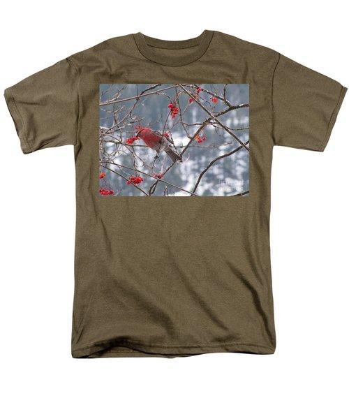 Pine Grosbeak And Mountain Ash Men's T-Shirt  (Regular Fit) by Leone Lund
