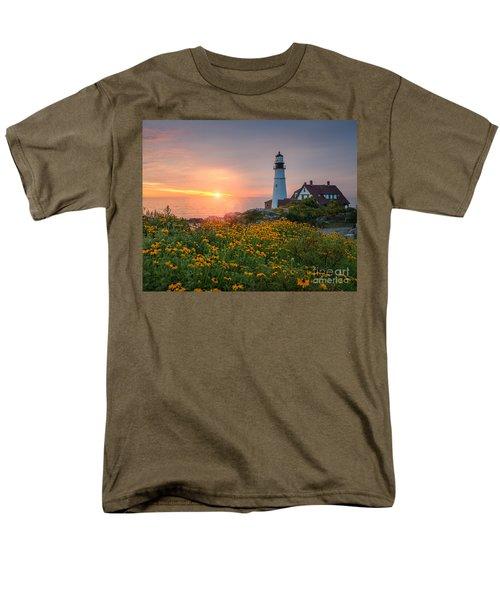 Portland Head Light Sunrise  Men's T-Shirt  (Regular Fit) by Michael Ver Sprill