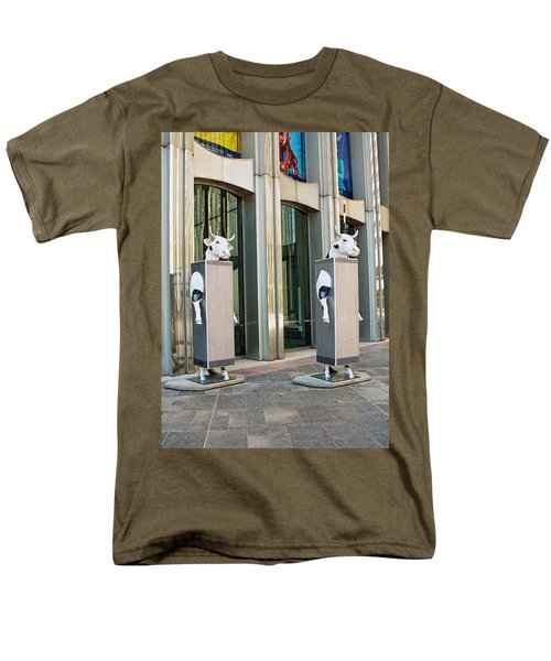 Cow Parade N Y C 2000 - Twin Cowers Men's T-Shirt  (Regular Fit) by Allen Beatty