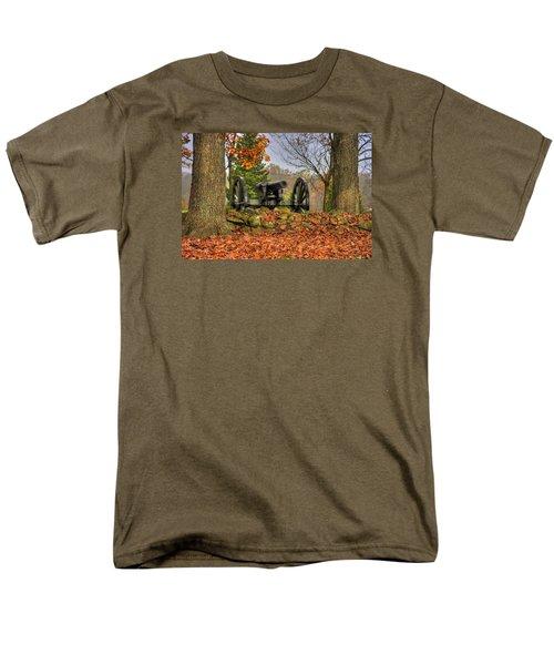 Men's T-Shirt  (Regular Fit) featuring the photograph War Thunder - The Charlotte North Carolina Artillery Grahams Battery West Confederate Ave Gettysburg by Michael Mazaika