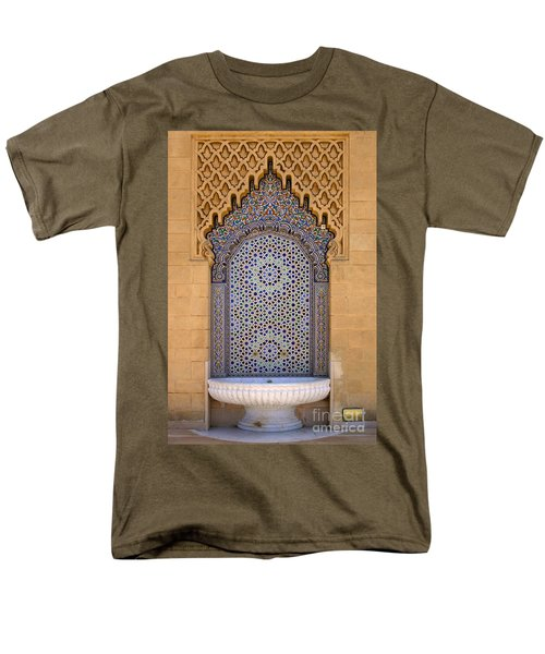 Men's T-Shirt  (Regular Fit) featuring the photograph Water Fountain Mausoleum Of Mohammed V Opposite Hassan Tower Rabat Morocco  by Ralph A  Ledergerber-Photography