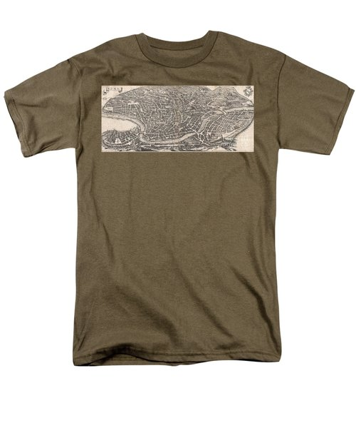 1652 Merian Panoramic View Or Map Of Rome Italy Men's T-Shirt  (Regular Fit) by Paul Fearn