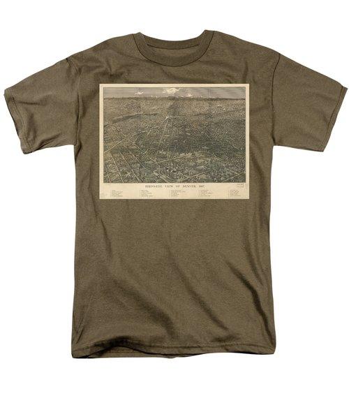 Birdseye Map Of Denver Colorado - 1887 Men's T-Shirt  (Regular Fit) by Eric Glaser