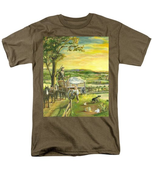 Men's T-Shirt  (Regular Fit) featuring the painting The Farm Boy And The Roads That Connect Us by Mary Ellen Anderson