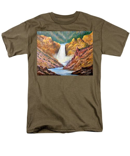 Yellowstone Falls Men's T-Shirt  (Regular Fit) by Lou Ann Bagnall