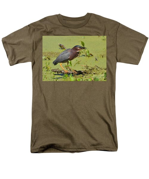 Men's T-Shirt  (Regular Fit) featuring the photograph A Greenbacked Heron's Breakfast by Kathy Baccari