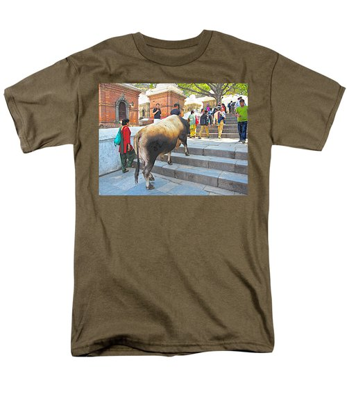 A Holy Cow Climbing Steps From Bagmati River In Kathmandu-nepal  Men's T-Shirt  (Regular Fit) by Ruth Hager
