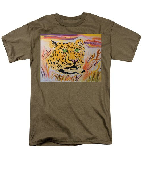 Men's T-Shirt  (Regular Fit) featuring the painting A Leopard's Gaze by Meryl Goudey