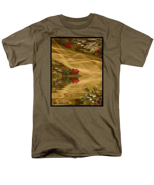 Men's T-Shirt  (Regular Fit) featuring the mixed media A Rose Bud Stream by Ray Tapajna