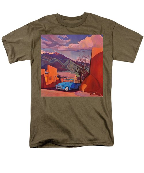 Men's T-Shirt  (Regular Fit) featuring the painting A Teal Truck In Taos by Art James West