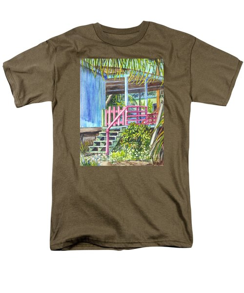 Men's T-Shirt  (Regular Fit) featuring the painting A Tropical House Porch by Carol Wisniewski