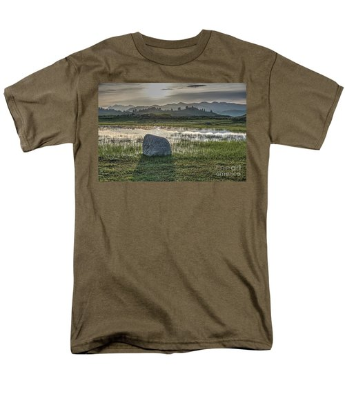 Men's T-Shirt  (Regular Fit) featuring the photograph A Yellowstone Sunrise And Hazy Morning Ridges by Bill Gabbert