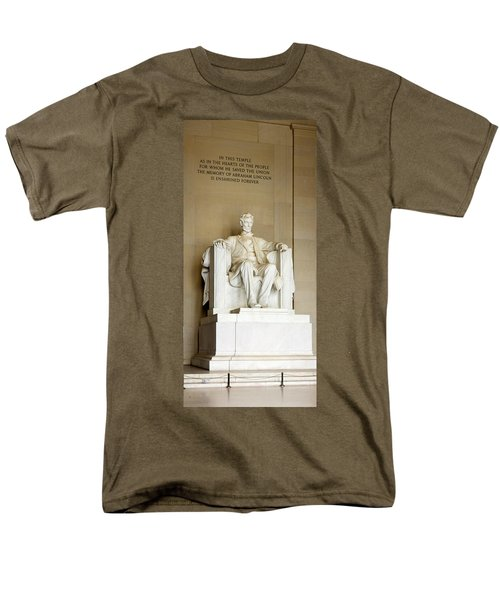 Abraham Lincolns Statue In A Memorial Men's T-Shirt  (Regular Fit) by Panoramic Images