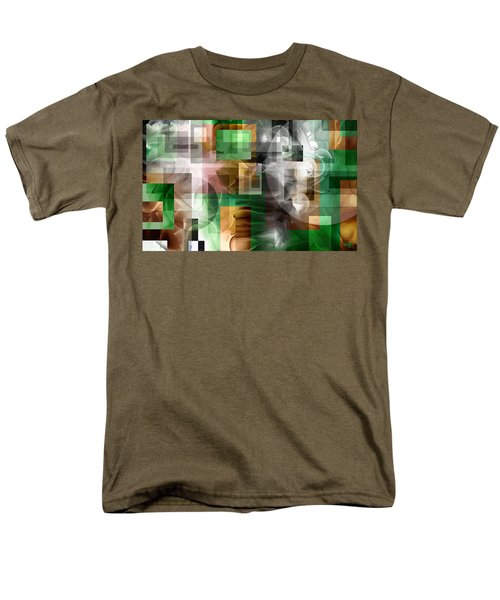 Men's T-Shirt  (Regular Fit) featuring the painting Abstract In Green by Curtiss Shaffer