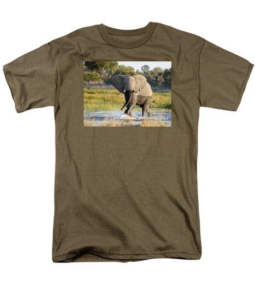 Men's T-Shirt  (Regular Fit) featuring the photograph African Elephant Mock-charging by Liz Leyden