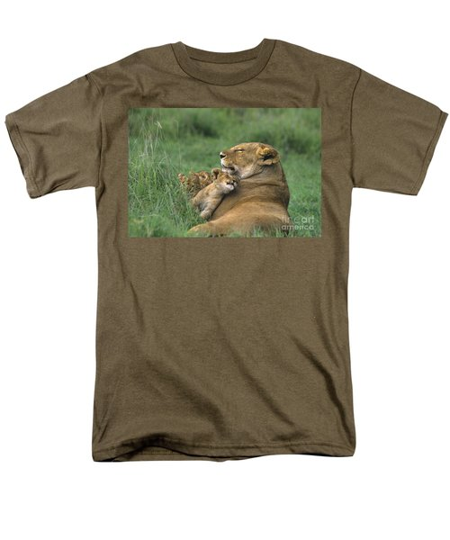 African Lions Mother And Cubs Tanzania Men's T-Shirt  (Regular Fit) by Dave Welling