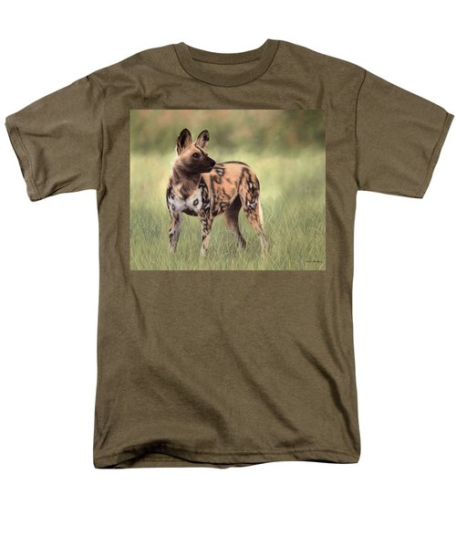 African Wild Dog Painting Men's T-Shirt  (Regular Fit) by Rachel Stribbling