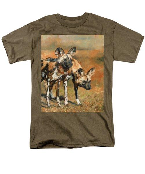 African Wild Dogs Men's T-Shirt  (Regular Fit) by David Stribbling