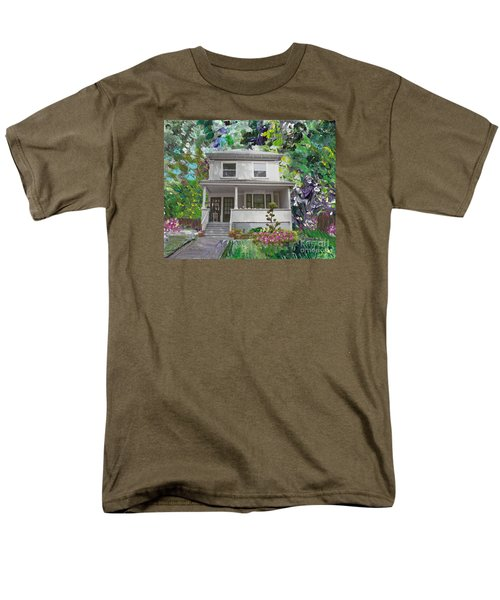 Men's T-Shirt  (Regular Fit) featuring the painting Alameda 1933 Duplex - American Foursquare  by Linda Weinstock
