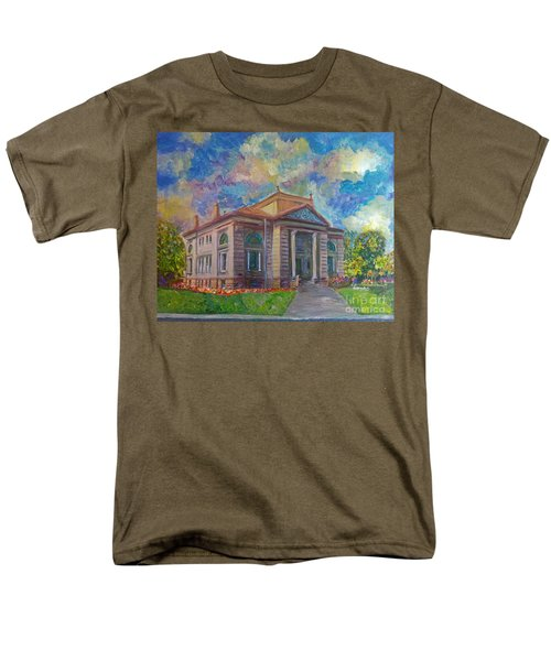 Men's T-Shirt  (Regular Fit) featuring the mixed media Alameda Carnegie Library 1899 by Linda Weinstock