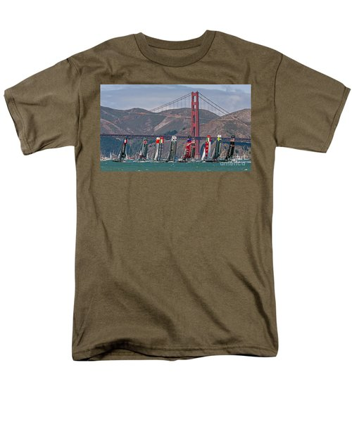 Americas Cup Catamarans At The Golden Gate Men's T-Shirt  (Regular Fit) by Kate Brown