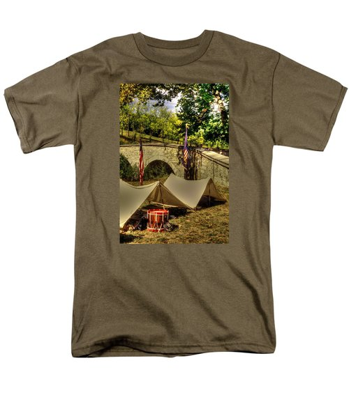 Men's T-Shirt  (Regular Fit) featuring the photograph Antietam - 8th Connecticut Volunteer Infantry-a1 Encampment Near The Foot Of Burnsides Bridge by Michael Mazaika