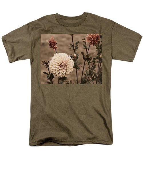 Men's T-Shirt  (Regular Fit) featuring the photograph Antiqued Dahlias by Jeanette C Landstrom