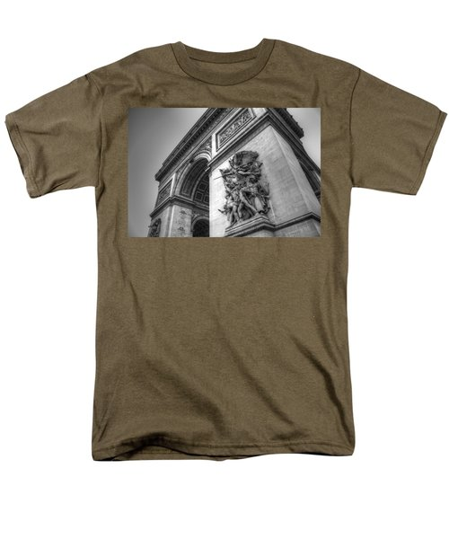 Men's T-Shirt  (Regular Fit) featuring the photograph Arc De Triomphe In Black And White by Jennifer Ancker