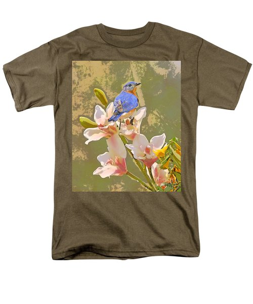 Men's T-Shirt  (Regular Fit) featuring the photograph Bluebird On Orchids Artistic Photo by Luana K Perez