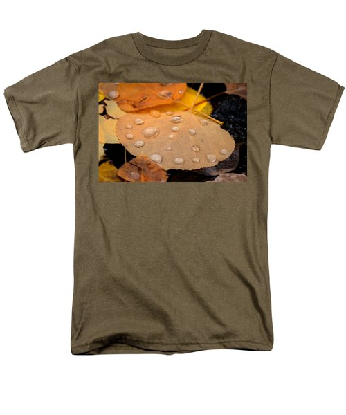 Aspen Leaf With Water Drops Men's T-Shirt  (Regular Fit) by John McArthur