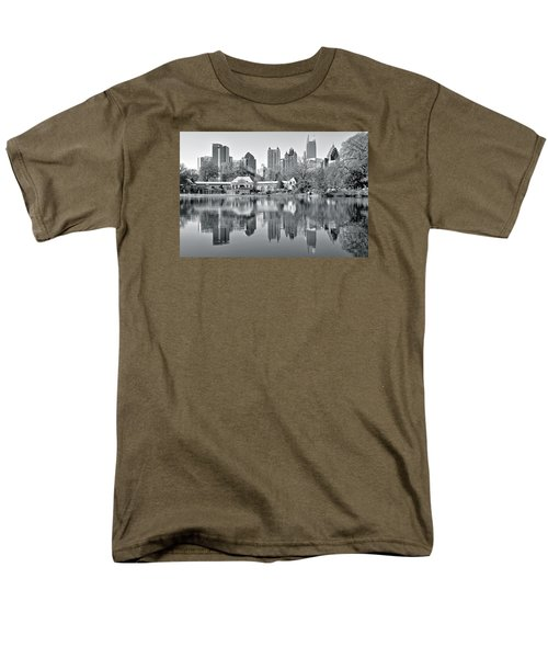 Atlanta Reflecting In Black And White Men's T-Shirt  (Regular Fit) by Frozen in Time Fine Art Photography