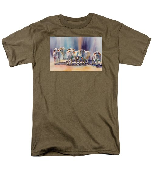 Men's T-Shirt  (Regular Fit) featuring the painting Attention All Ears.  Brahman Bulls by Roxanne Tobaison