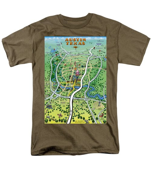 Austin Tx Cartoon Map Men's T-Shirt  (Regular Fit) by Kevin Middleton