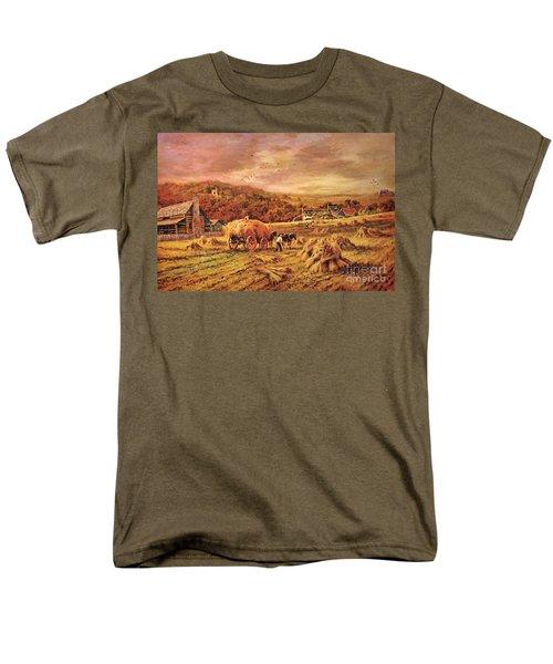 Men's T-Shirt  (Regular Fit) featuring the digital art Autumn Folk Art - Haying Time by Lianne Schneider
