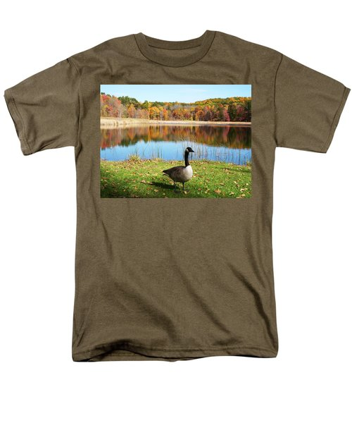 Men's T-Shirt  (Regular Fit) featuring the photograph Autumn Pond Goose by Aimee L Maher Photography and Art Visit ALMGallerydotcom