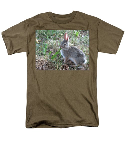 Baby Bunny Eating Dandelion #01 Men's T-Shirt  (Regular Fit) by Ausra Huntington nee Paulauskaite
