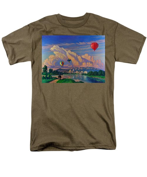 Men's T-Shirt  (Regular Fit) featuring the painting Ballooning On The Rio Grande by Art James West